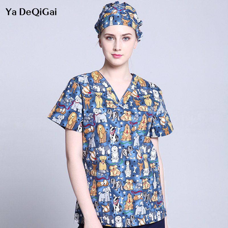 Cartoon Print Medical Surgical Pharmacy Doctor Nurse Work Uniform Spa Beauty Salon Shirt Men&women Scrub Tops Medical Clothing