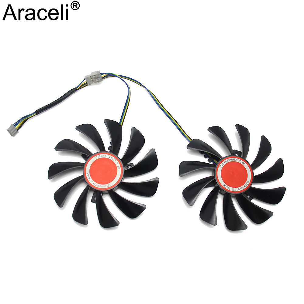 2pcs/set95MM FDC10U12S9-C CF1010U12S CF9010H12S XFX RX580 GPU Cooler Fan For HIS RX 590 580 570 Graphics Card Cooling 2