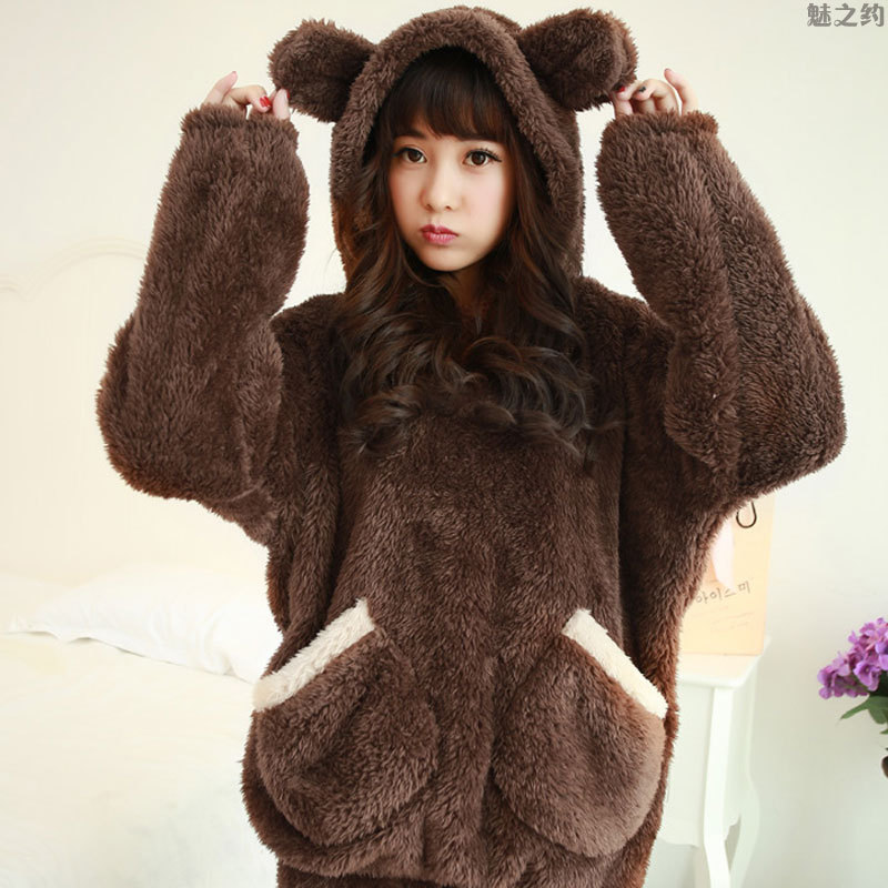 Winter Thick Flannel Pajamas Women's Cartoon Bear Hooded Tracksuit Sweet Long Velvet Warm Leisure Suit