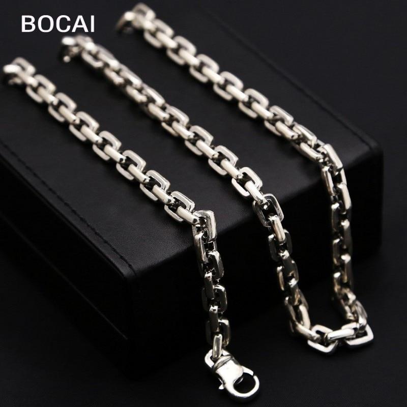 100% skutečné pevné S925 čisté stříbro Kruh mříže Muži Retro Box 7MM Řetězový Náhrdelník pro muže Thajské Stříbrné mužské náhrdelníky