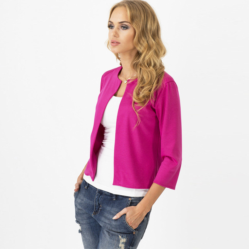 Image 3 - Solid Cardigan Blazers Women Fashion No Breasted No Collar Casual Suits Female Elasticity Soft Women Blazers Elegant Office Lady-in Blazers from Women's Clothing