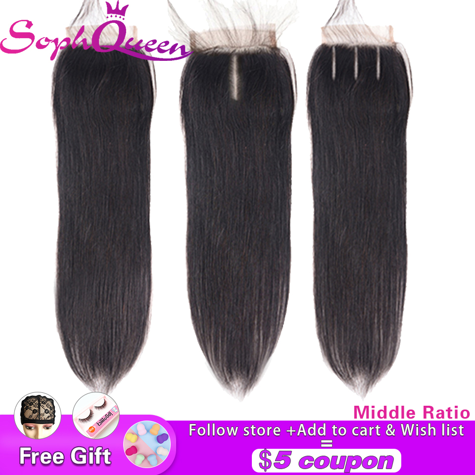 Soph Queen Brazilian Straight Hair Closure Free/Middle/Three Part Middle Ratio Non-Remy Human Hair Lace Closure Swiss Lace 4