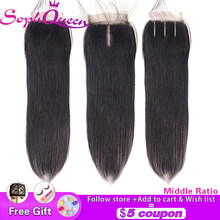 "Soph Queen Brazilian Straight Hair Closure Free/Middle/Three Part Middle Ratio Non-Remy Human Hair Lace Closure Swiss Lace 4""x4""(China)"