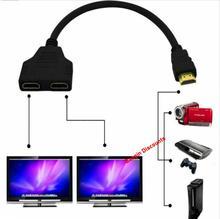 Convertitore adattatore cavo maschio-femmina Splitter compatibile HDMI 1080P convertitore adattatore cavo da 1 ingresso a 2 porte di uscita