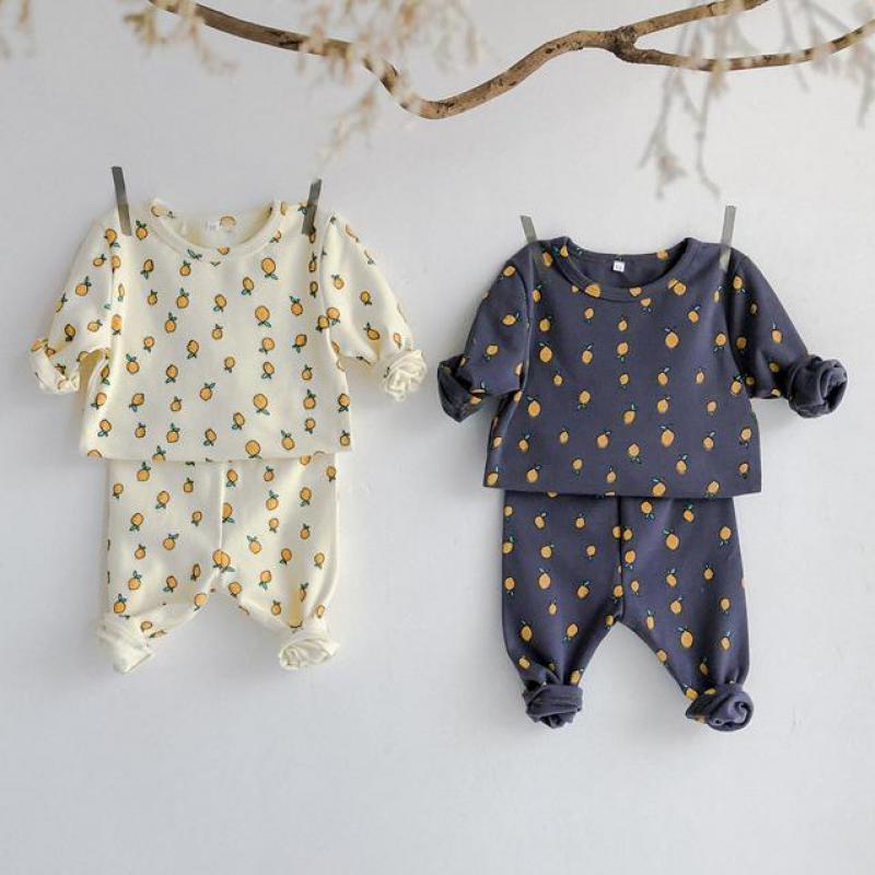 Sonbahar limon baskılı bebek giyim erkek kız seti bebek uzun kollu üstleri ve yüksek bel pantolon pamuklu bebek çocuk pijamaları seti