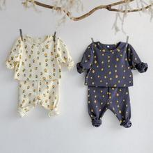 Autumn Lemon Printed Baby Clothes Boys Girls Set Baby Long Sleeve Tops And High Waist Pants Cotton Toddler Kids Pajamas Set