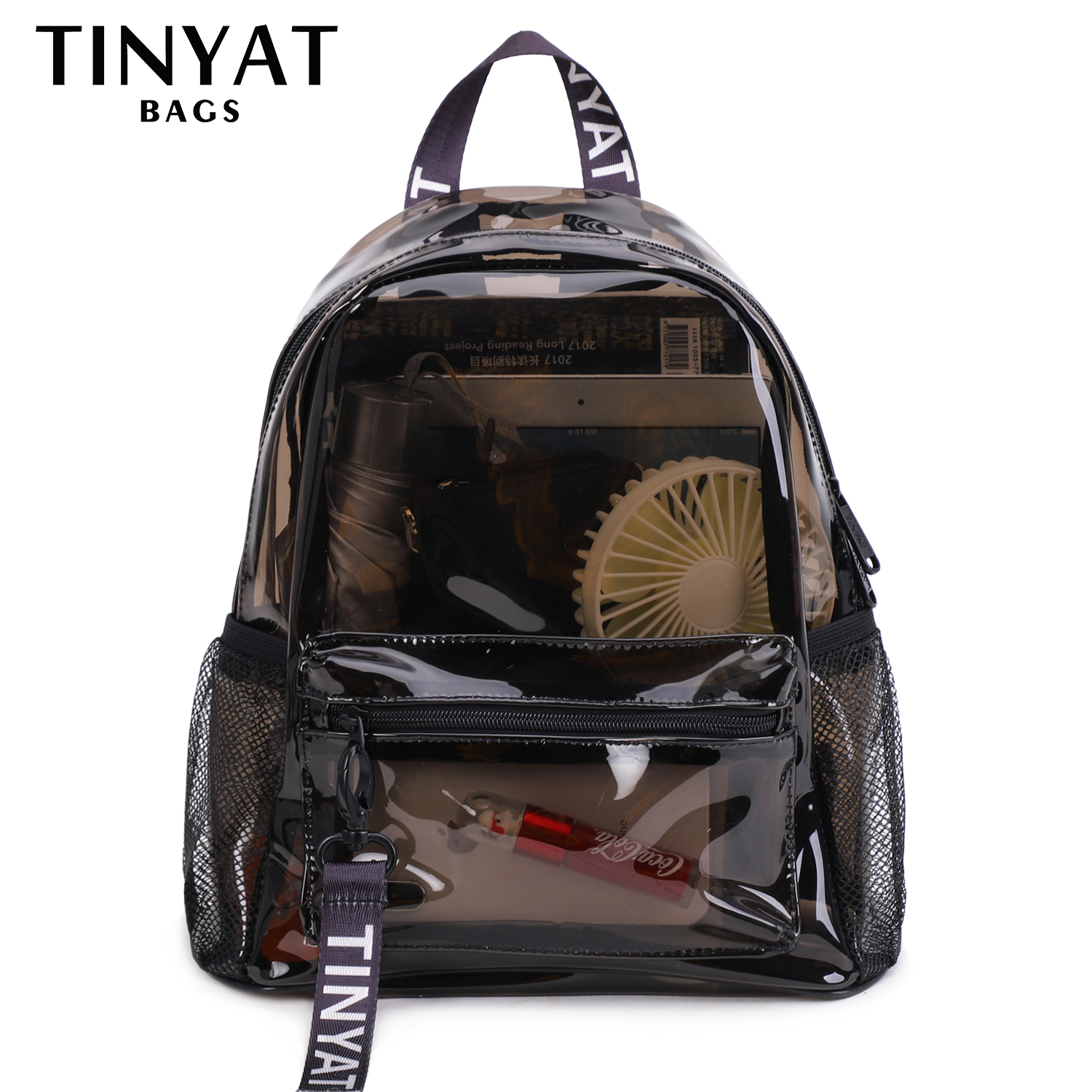 TINYAT Clear PVC Women Backpack Transparent Fashion Solid Backpack Travel School Backpack Bag For Teenage Girls Mochila Children