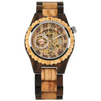 Classic Hollow Out Automatic-self-winding Mechanical Wooden Watch for Men Gold Roman Numerals Dial Wooden Wristwatch