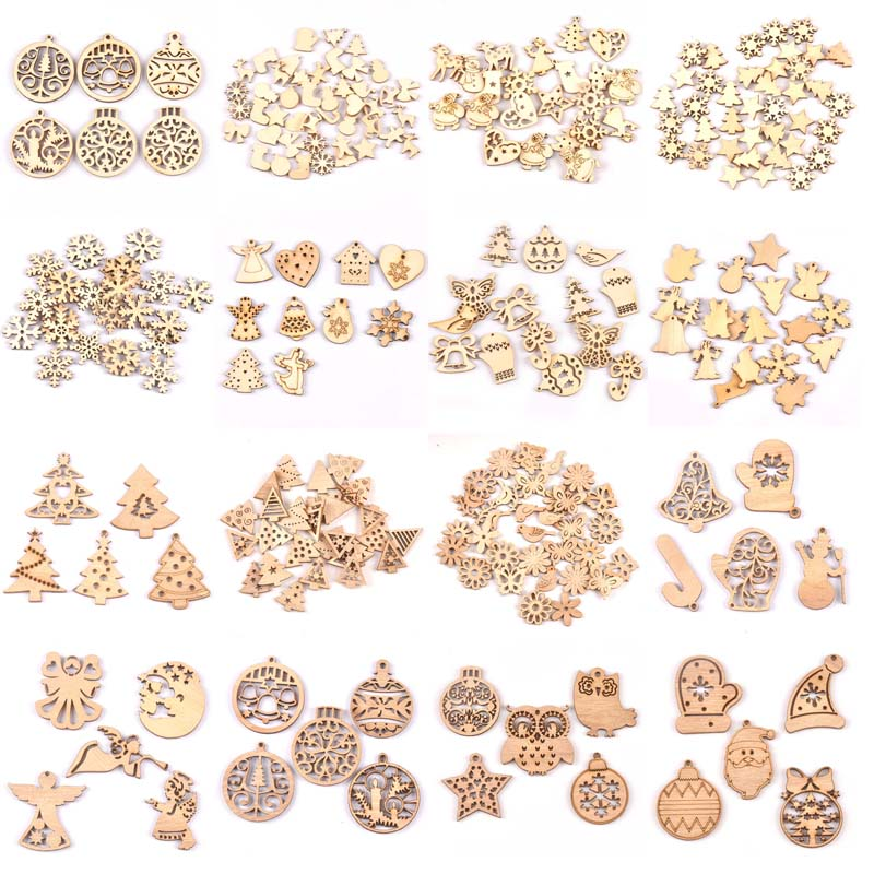 DIY Natural Wooden Chip Christmas Tree Hanging Ornaments Pendant Kids Gifts Snowman Xmas Ornaments Decorations Mt2521