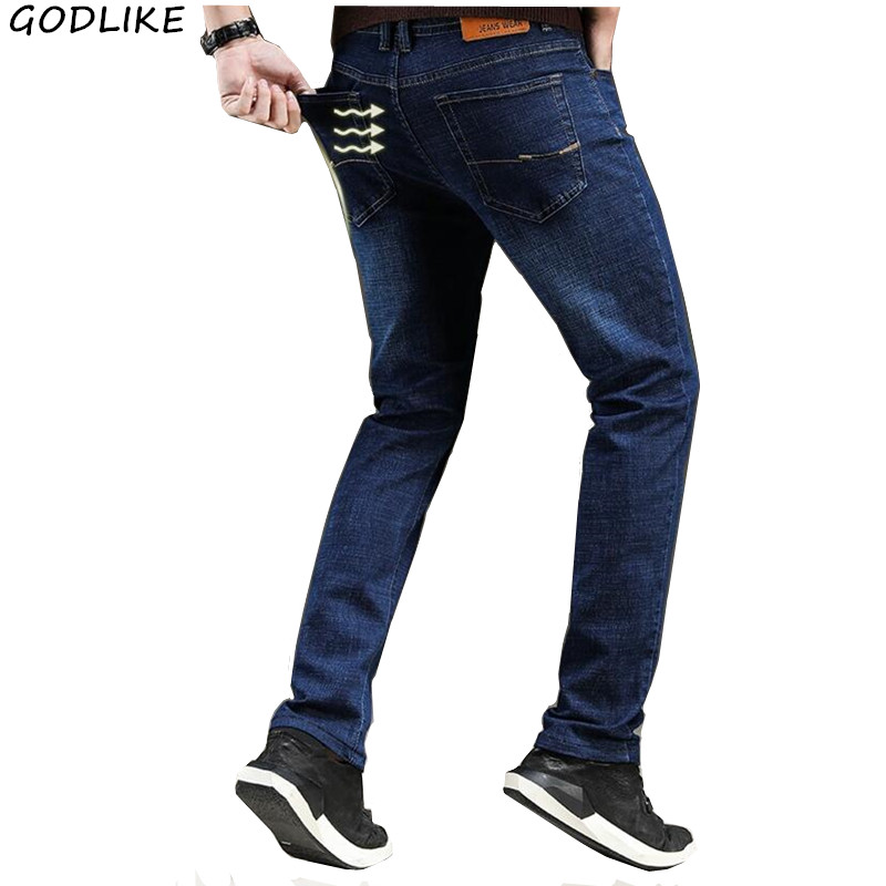 2020 New Men's Classic Straight Black Blue Jeans Fashion Business Casual Elastic Trousers Mens Brand Pants Plus Size 40 38