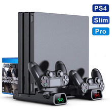 PS4/PS4 Pro/PS4 Slim Console Vertical Stand 2 Controller Opladen Dock 2 Koelventilator 10 Games Opslag voor Sony Playstation 4(China)