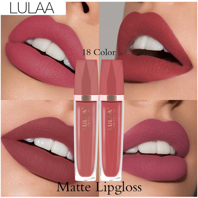 LULAA Lip Gloss  Makeup Liquid Matte Velvet Cosmetics Pigment Lipstick Glitter Moisturizer Longlasting 24 Colors Fashion TSLM1 3