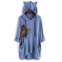 2019 New Fashion Cat Animal Print T-Shirt For Women Mid Sleeve Hooded Harajuku Plus Size Summer Funny Punk