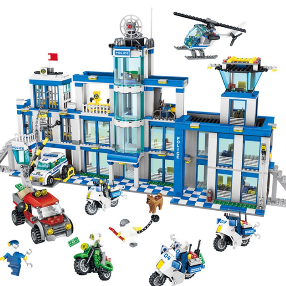Bela 10424 City Police Station Motorbike Helicopter Building Block Kits Compatible with Lepining City 41178 Kids Toys Bricks image