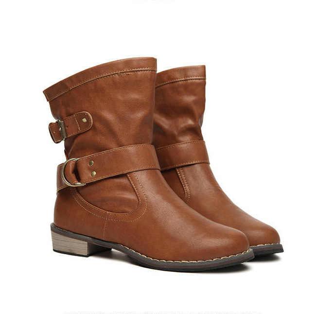 Herfst Winter Laarzen Vrouwen Schoenen Gesp Vrouwen Enkellaars Lage Hakken Pu Leer Gladiator Snowboots Dames Schoenen Plus Size 35-41