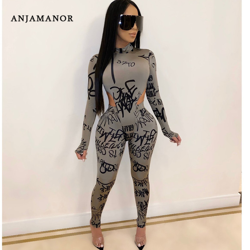 ANJAMANOR Sexy 2 Piece Set Women Long Sleeve Bodysuit Leggings Club Outfits Sweatsuits Plus Size Winter Clothing D35-AE21