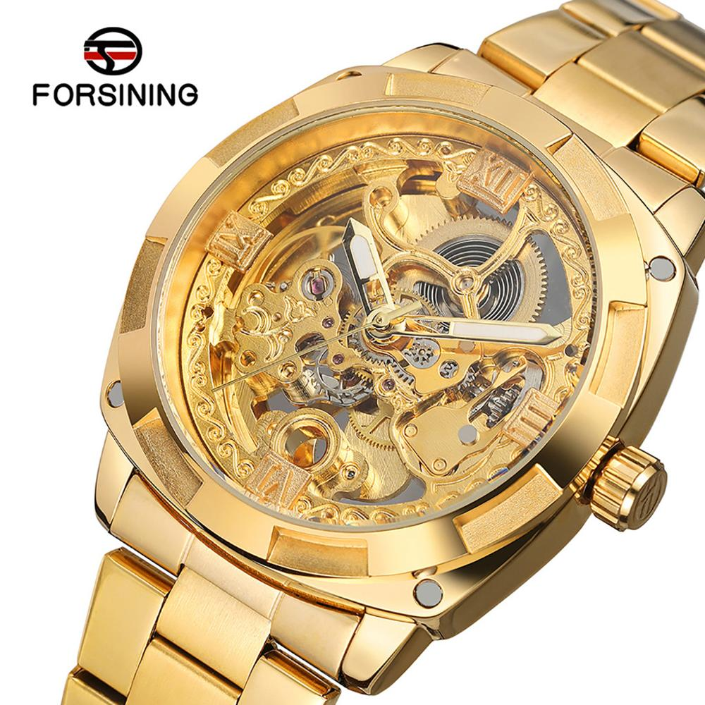 Watch Men Forsining Hollow Automatic Mechanical Watch Waterproof Leather Business Clock relogio montre homme horloges mannen 10X