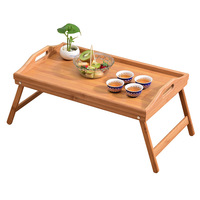 Joyathome Natural Bamboo Breakfast Serving Tray with Handle Breakfast in Bed Foldable TV Table Bed Table Laptop Desk Food Tray