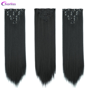 Synthetic Long Straight Women Clip in Hair Extensions 22