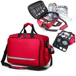Erste Hilfe Tasche Outdoor Sport Rot Nylon Wasserdichte Quer Messenger Taschen mit Schulter Gurt Familie Reise Notfall Medizinische Kit