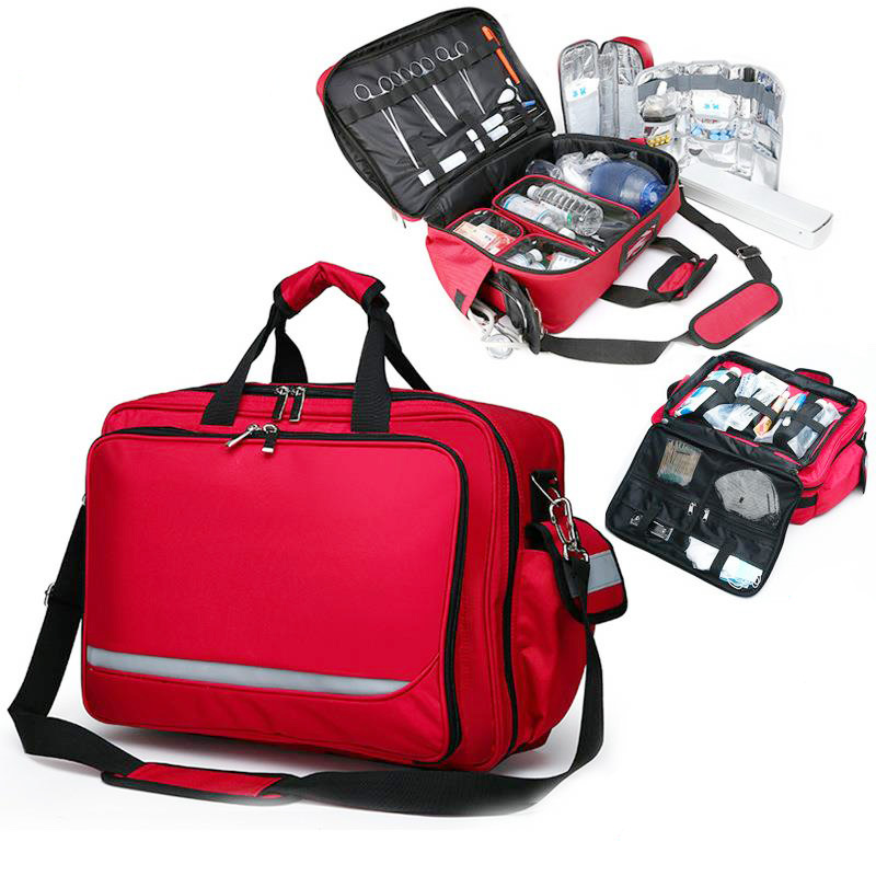 First Aid Bag Outdoor Sports Red Nylon Waterproof Cross Messenger Bags With Shoulder Strap Family Travel Emergency Medical Kit