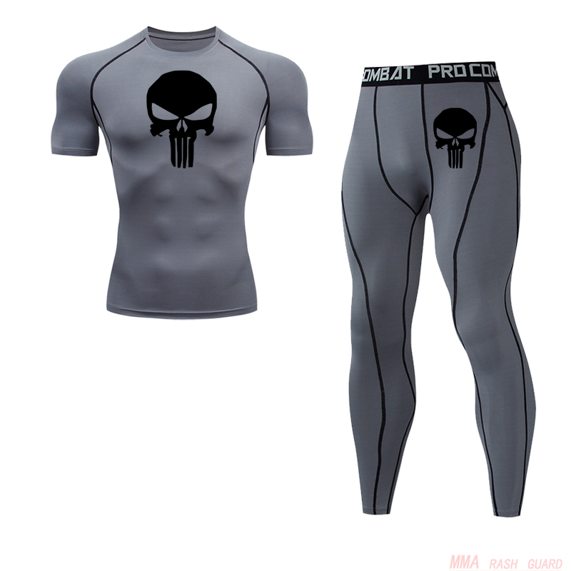 Men's Short Suit Summer New Skull T-shirt Leggings 2 Piece Tracksuit Men Tactical MMA Fitness Clothing Jogging Tights Sportswear