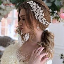YouLaPan HP301 Alloy Rhinestone Headband Wedding Head Piece Flower Bridal Hair Accessories Hair Comb Silver Hair Clips Headwear