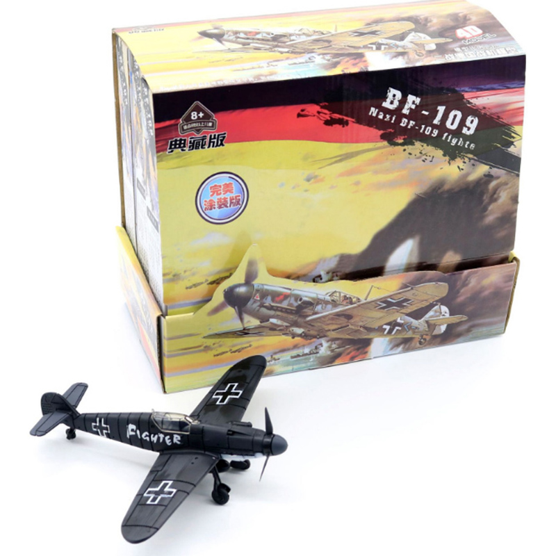 6PCS/Set 4D World War II Germany Fighter Model 1:49 Plastic Assembled Military Airplane Model Toy For Children
