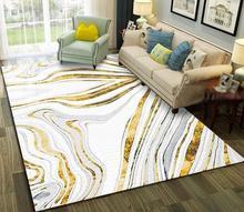 Złoty marmur malarstwo streszczenie duży miękki dywan dywaniki do sypialni dla domu salon podłoga w pomieszczeniu dywaniki dywaniki do wystroju domu tanie tanio LYN GY Living Room Dorosłych Klej-ochronne Antybakteryjna Anti-slip Perski Zakończył dywan (szt) Plaid Drukowane Nowoczesne