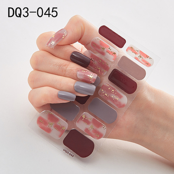 14pcs/sheet Glitter Gradient Color Nail Stickers Nail Wraps Full Cover Nail Polish Sticker DIY Self-Adhesive Nail Art Decoration 29