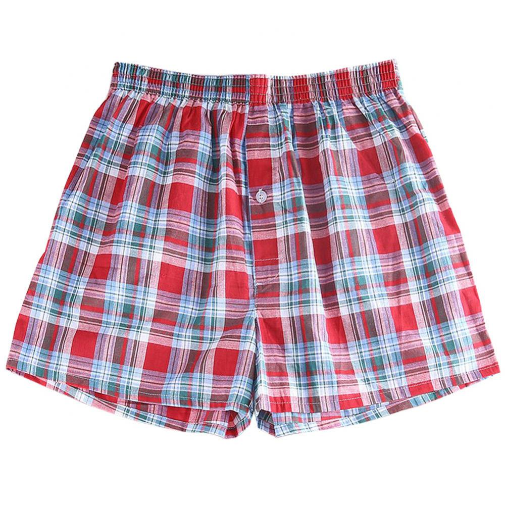 80% Hot Sell Summer Men Plaid Print Elastic Waistband Loose Boxers Beach Home Short Pants 3