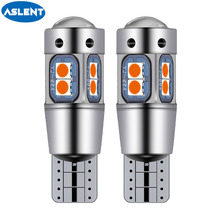 ASLENT LED W5W T10 194 168 W5W 10SMD Led Parking Bulb Auto Wedge Clearance Lamp CANBUS super Bright White License Light Bulbs w5w 10 led 7020 smd car t10 led 194 168 wedge replacement reverse instrument panel lamp white blue bulbs for clearance lights