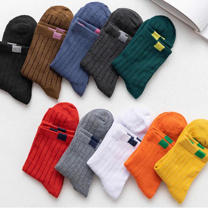 5 çift/grup = 10 adet Orta tüp Bayan Çorapları Kumaş Çift Iğne Sonbahar Kış Çorap Kadın Moda Uzun Çorap kadın