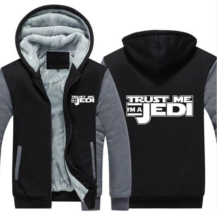 2017 Men Women Trust Me I'm A Jedi Zipper Jacket Thicken Hoodie Coat Casual Winter Clothes SUA SIZE Sweatshirts