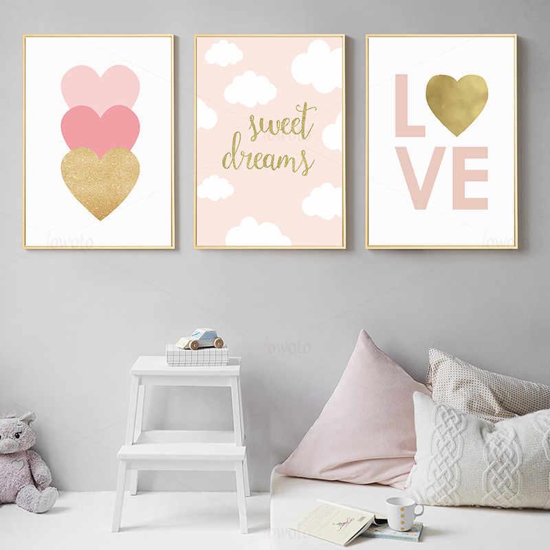 Blush Pink Wall Art Digital Boho Nursery Prints Pink Heart and XO Printable Wall Art Set of 2 Girls Room Decor Baby Girl Nursery Decor