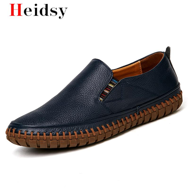 Men Genuine Leather Shoes Slip On Black Shoes Real Leather Loafers Mens Moccasins Shoes Italian Designer Shoes Big Size 38-50