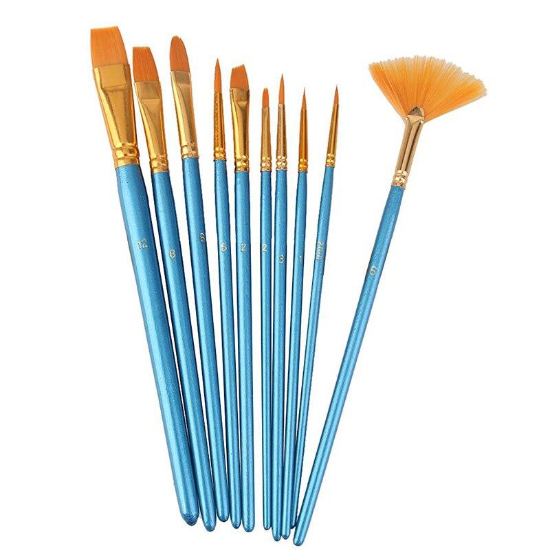 10pcs Blue Handle Nylon Hair Multifunction Paint Brushes
