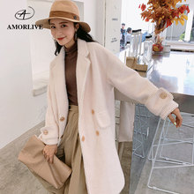 AMOR LIVE Handmade Pearl Lace Wool Maxi Long Coat For Woman Autumn Winter Snow Velvet Jacquard Female Robe Outerwear