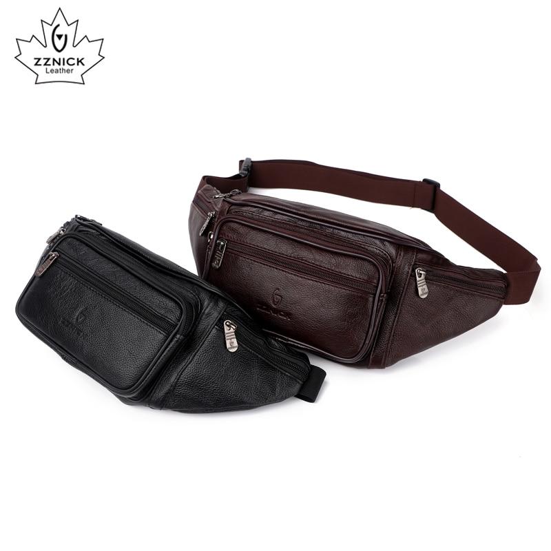 Image 3 - ZZNICK, 2020 натуральная кожа, Мужские поясные сумки, поясная сумка, сумка для телефона, сумки для путешествий, поясная сумка, Мужская маленькая поясная сумкаПоясные сумки   -