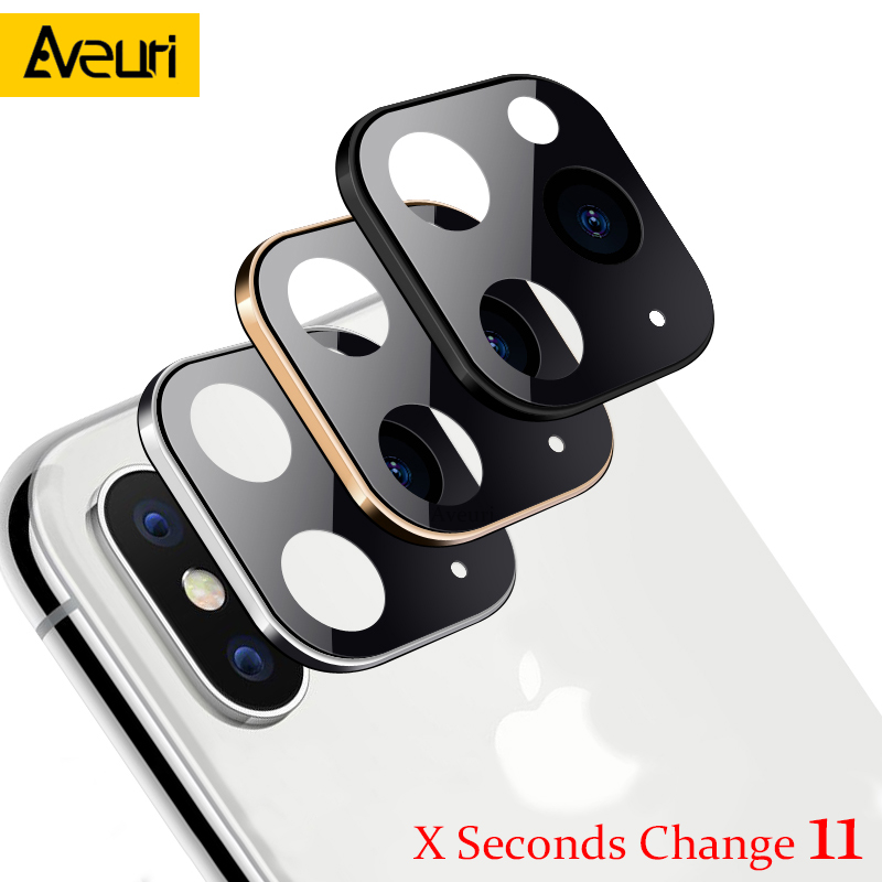 Modified Metal Sticker Camera Lens Seconds Change Cover For IPhone X XS MAX Fake Camera For IPhone 11 Pro Max Glass Protector