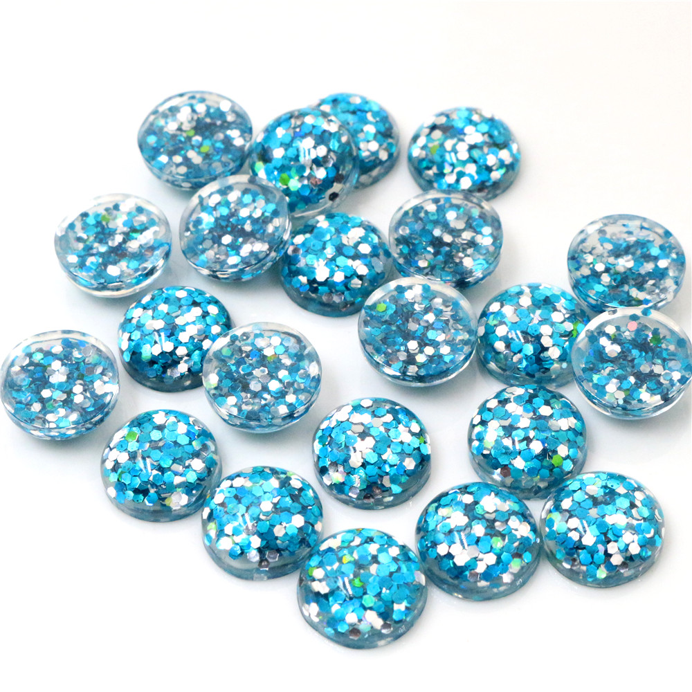 40pcs 12mm Blue Pink /& Gold Glitter Mix Resin Cabochons