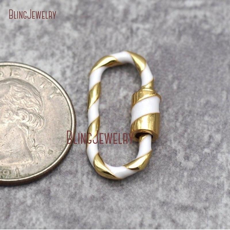 Карабинный замок с эмалью из стерлингового серебра 14 к с золотым покрытием, овальная застежка с винтовой застежкой, фурнитура белого, розового, красного цветов, бирюза FC28687