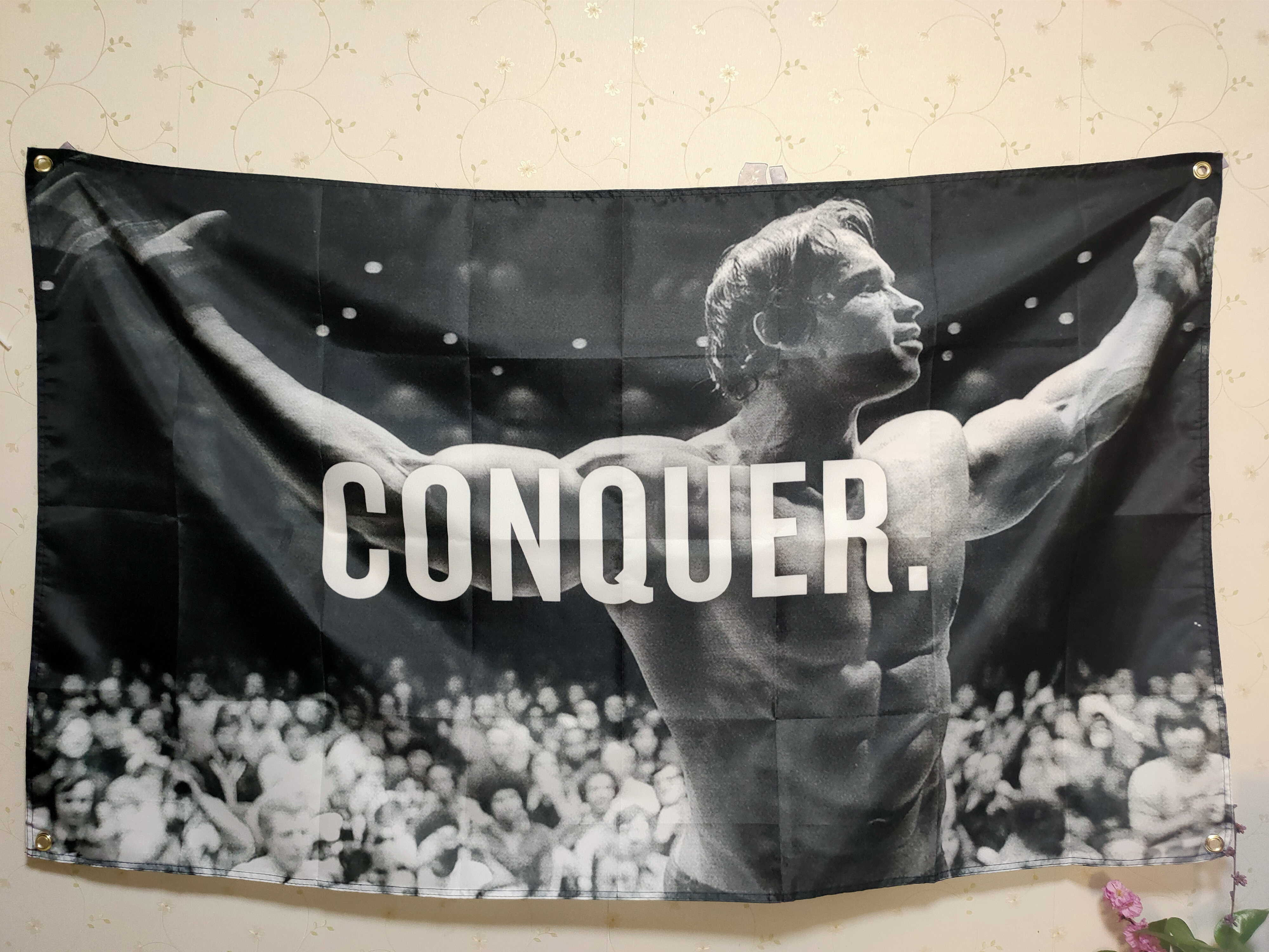 Arnold Schwarzenegger Conquer Gym Flag Any Size Motivation Body Building Wall Hanging Decoration Tapestry Bodybuilding