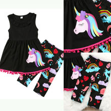 Emmababy Unicorn Baby Girls Clothes Set 2-7Y Kids 2PCS Cartoon Long Sleeve Mini Dress+Long Printed Pants