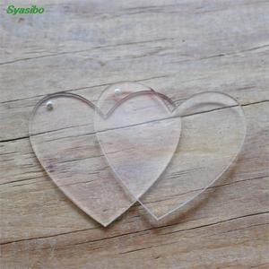 (5pcs)50/60/76mm Blank Clear Acrylic Heart Keychain Laser Cut Acrylic Personalized Monogram Keychain Gift-AC1054
