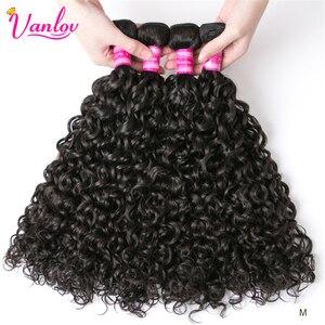 Vanlov Peruvian Hair Bundles Water Wave Human Hair Weave Bundles Extension Natural/Jet Black 1/3/4 Pcs Remy Hair Extensions