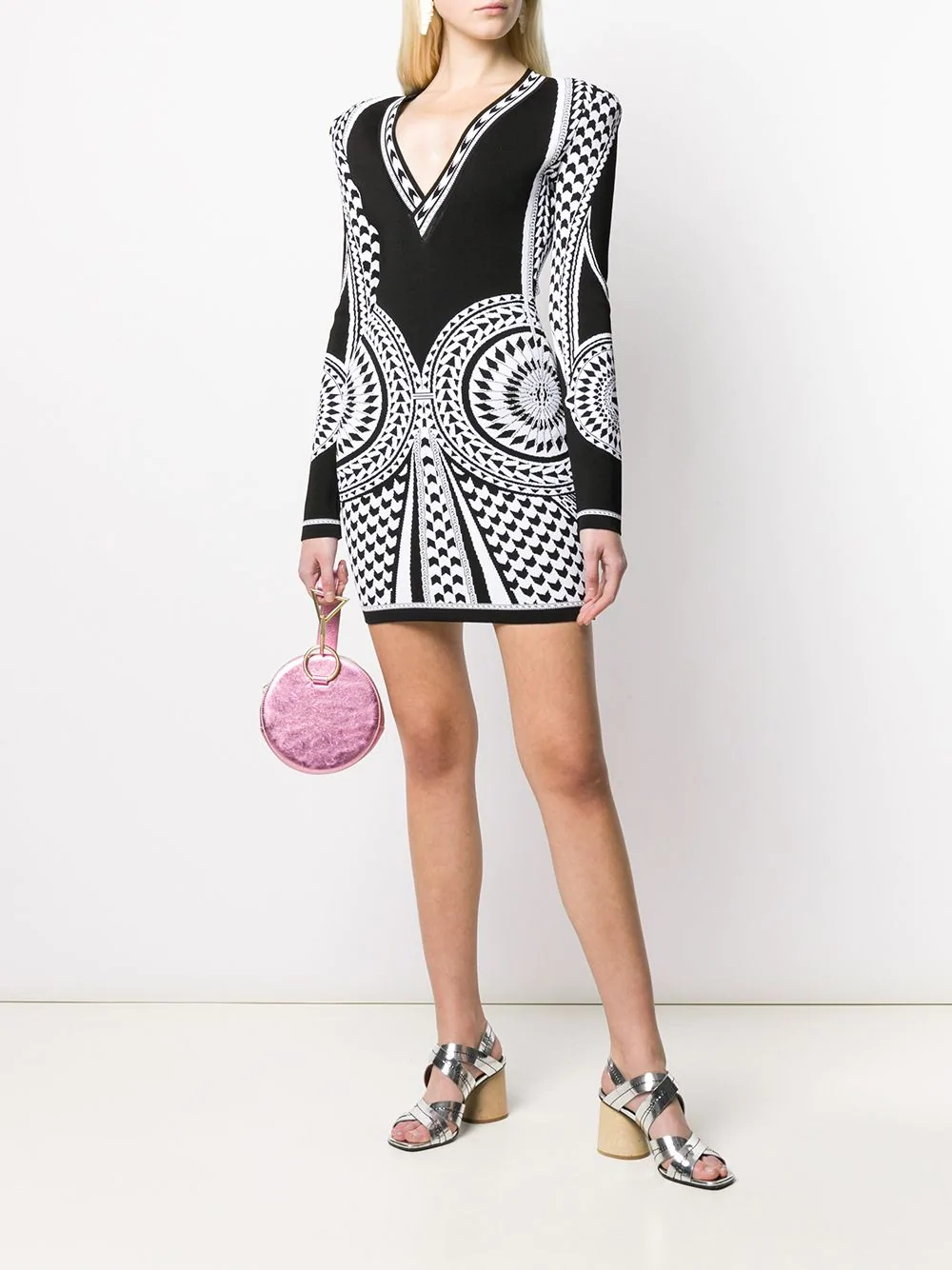 High Quality Black Long Sleeve Jacquard Rayon Bandage Dress Elegant Evening Party Dress