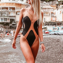 Sexy transparent bikini 2019 Plus size swimwear women monokini High cut swimsuit female one piece Summer Black bathing suit XL