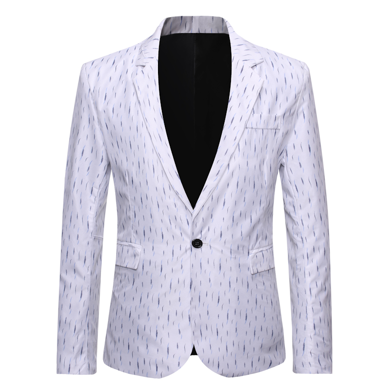 Men's Single Button White Tuxedo Blazer 2019 Brand Slim Fit Business Casual Suit Jacket Men DJ Club Wedding Dress Blazer Men XXL