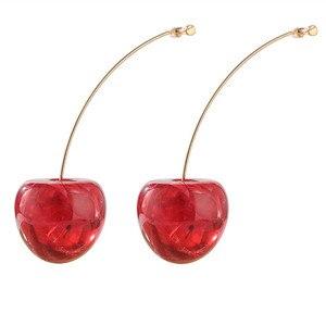 Элегантные Геометрические круглые красные милые серьги-капли для женщин жемчужные цветочные вишневые свадебные серьги кисточки ювелирные изделия 2020